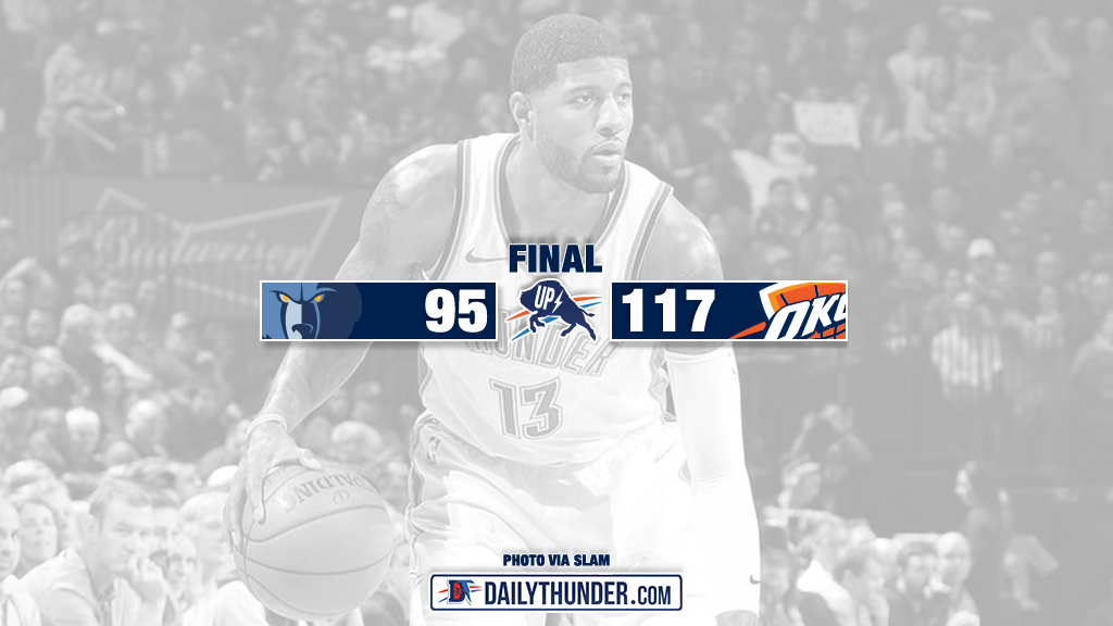 factory price 306c8 7c882 Thunder Dominate Second Half, Blowout Grizzlies 117-95