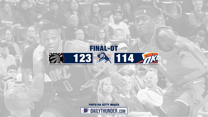 Thunder Spiral Further Down the Standings, Fall to Raptors 123-114 in Overtime